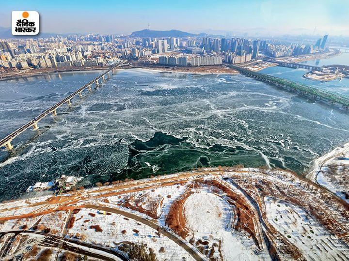 पिछले 30 साल का औसत देखा जाए तो हान नदी इस बार 4 दिन पहले ही जम गई है। - Dainik Bhaskar