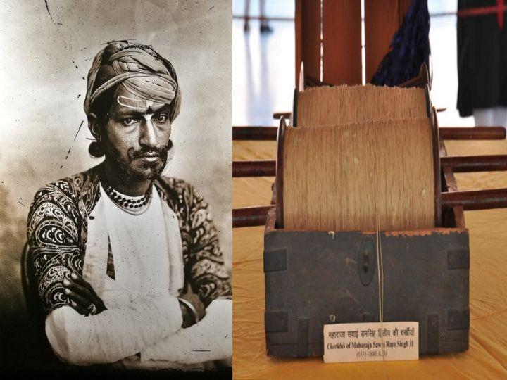 लखनऊ से तुक्कल पतंग लाकर जयपुर में पतंगबाजी शुरू करने वाले महाराजा सवाई रामसिंह द्वितीय (फाइल फोटो) और यहां म्यूजियम में रखी उनकी चरखियां। - Dainik Bhaskar
