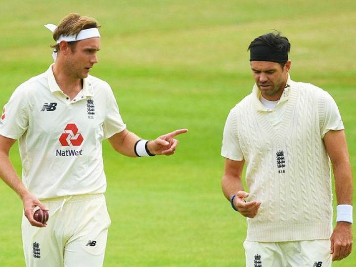 इंग्लैंड के तेज गेंदबाज स्टुअर्ट ब्रॉड के साथ जेम्स एंडरसन। -फाइल फोटो - Dainik Bhaskar