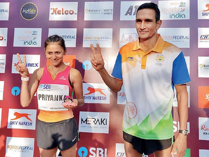 रांची में हुए नेशनल ओपन रेस वॉकिंग में संदीप और प्रियंका ने 20 किमी रेस वॉकिंग में नए नेशनल रिकॉर्ड भी बनाने के साथ ही ओलिंपिक और अगले साल होने वाले वर्ल्ड एथलेटिक्स चैम्पियनशिप के लिए भी क्वॉलिफाई किया। - Dainik Bhaskar