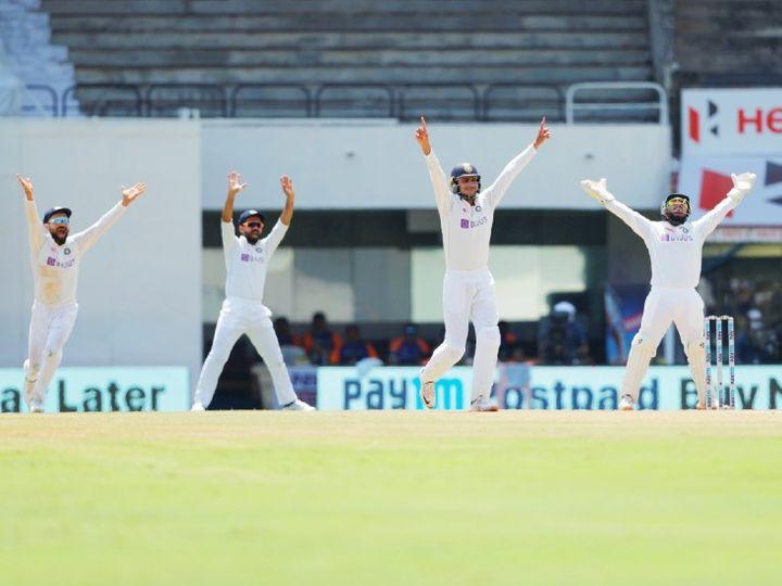 इंग्लैंड टीम को ऑलआउट करने के बाद खुशी मनाते भारतीय कप्तान विराट कोहली, अजिंक्य रहाणे, शुभमन गिल और विकेटकीपर ऋषभ पंत। - Dainik Bhaskar