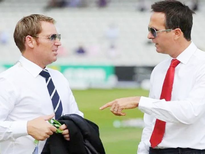 शेन वॉर्न (बाएं) ने ऑस्ट्रेलिया के लिए 145 टेस्ट खेले। इसमें उन्होंने 708 विकेट लिए। वहीं, माइकल वॉन (दाएं) इंग्लैंड के पूर्व कप्तान रह चुके हैं। उन्होंने 82 टेस्ट में 41.44 की औसत से 5719 रन बनाए। - Dainik Bhaskar