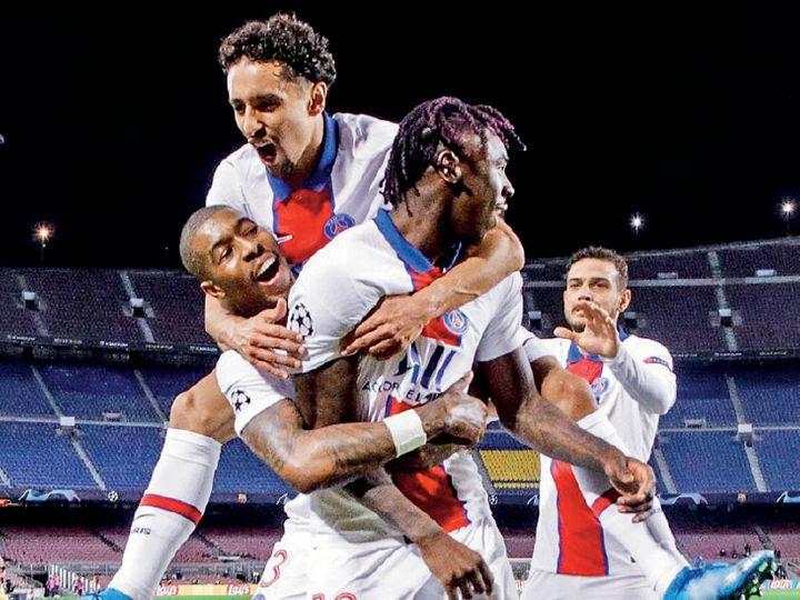 चैंपियंस लीग क्वार्टर फाइनल के पहले लेग में एम्बाप्पे की हैट्रिक से पेरिस सेंट जर्मन (पीएसजी) को जीत मिली। - Dainik Bhaskar