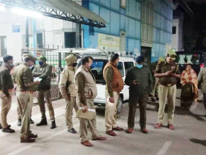 वारदात के बाद मौके पर जांच के लिए जुटी पुलिस। - Dainik Bhaskar