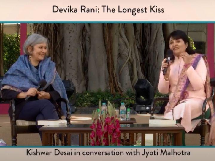 Kishwar Desai and Jyoti Malhotra at a session at the Jaipur Literature Festival.  - Dainik Bhaskar
