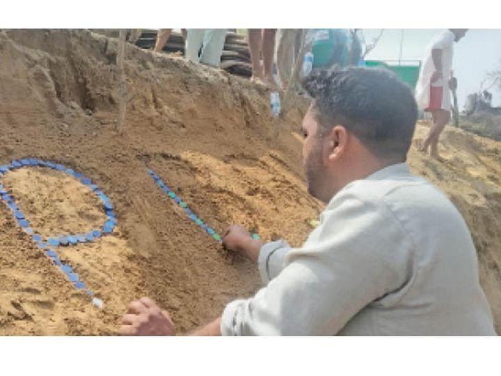 जमीन पर रजिस्ट्रेशन अथॉरिटी के नंबर बनाए गए। - Dainik Bhaskar