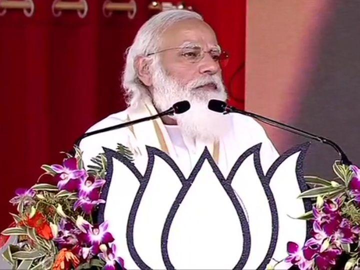 प्रधानमंत्री असम में रैली करने के बाद पश्चिम बंगाल के हुगली पहुंचे हैं। यहां उन्होंने विकास के लिए इन्फ्रास्ट्रक्चर खड़ा करने पर जोर दिया। - Dainik Bhaskar
