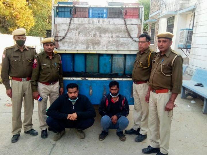 जयपुर में बस्सी थाना पुलिस की गिरफ्त में डीजल ऑयल चुराने वाले बदमाश, दोनों मध्यप्रदेश के रहने वाले है - Dainik Bhaskar