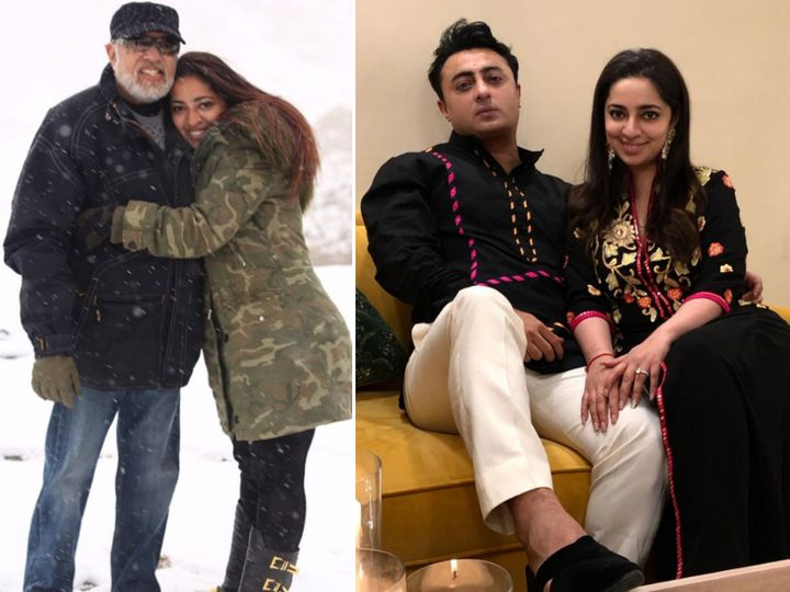 Nidhi Dutta with father JP Dutta and fiancé Binoy Gandhi.  - Dainik Bhaskar