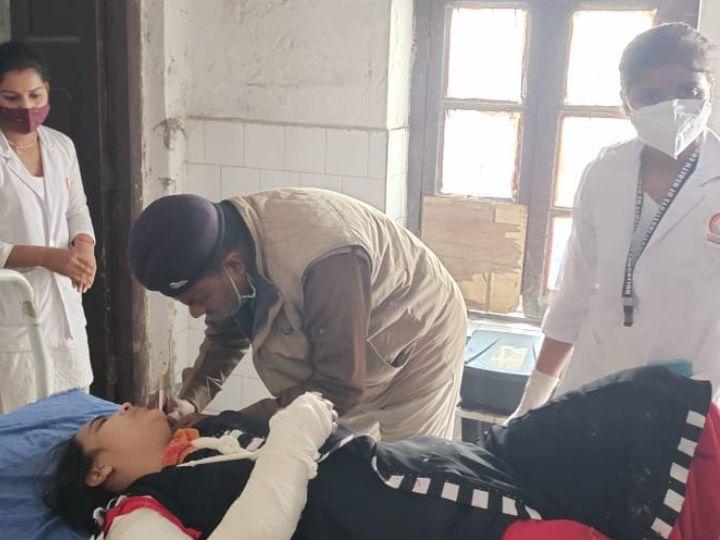 अस्पताल में इलाजरत शबनम। - Dainik Bhaskar