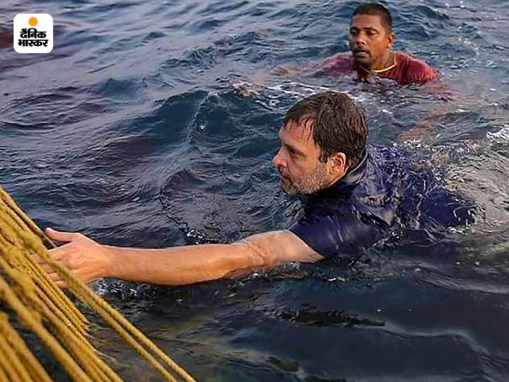 केरल के कोल्लम जिले में मछुआरों के साथ राहुल गांधी भी समुद्र में कूद पड़े। उन्होंने इस बारे में अपने साथी नेताओं को भी नहीं बताया। - Dainik Bhaskar