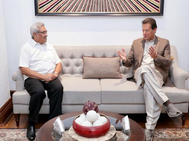 Prime Minister of Pakistan Imran Khan during a meeting with Sri Lankan President Gotabaya Rajapaksa on Wednesday.  - Dainik Bhaskar