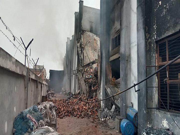 पानीपत में आग के बाद गिरी फैक्� - Dainik Bhaskar