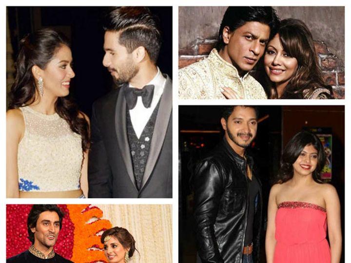 छायाचित्रेः डावीकड (वर) पत्नी मीरासोबत शाहिद कपूर, (खाली) पत्नी नैनासोबत अभिनेता कुणाल कपूर. उजवीकडे (वर) पत्नी गौरीसोबत अभिनेता शाहरुख खान, (खाली) - पत्नी दिप्तीसोबत अभिनेता श्रेयस तळपदे. - Divya Marathi