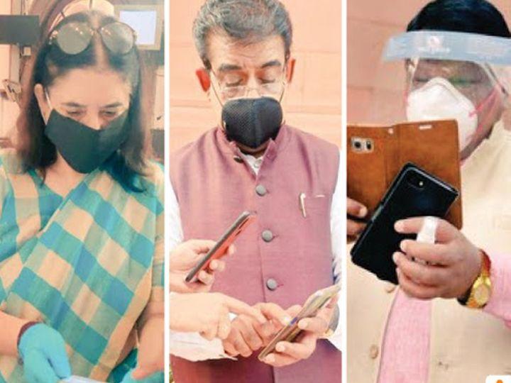 सोमवारी मेनका गांधींसह इतर खासदारांनी 'अटेंडन्स रजिस्टर'प' च्या माध्यमातून लोकसभेत हजेरी लावली. - Divya Marathi