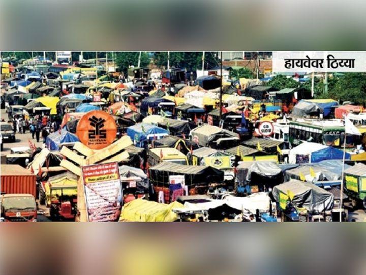 सिंघू सीमेवर थेट हायवेवरच शेतकऱ्यांनी आपली वाहने पार्क करून ठिय्या दिला. - Divya Marathi