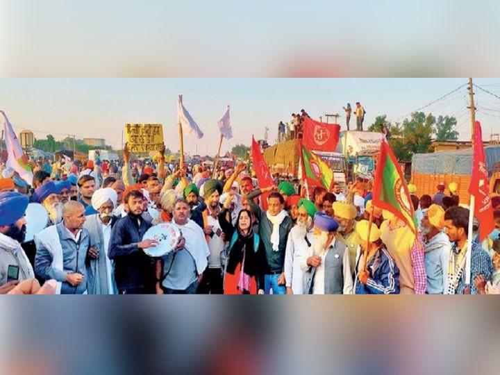 सीमा ठप्प : हरियाणातील सोनीपत जिल्ह्यात कुंडली सीमेवर अनेक विद्यार्थी आंदोलनात सामील झाले होते. - Divya Marathi