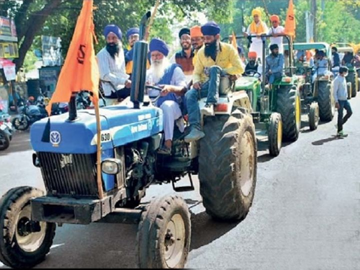 शेतकरी आंदोलनाला नांदेडमध्ये ट्रॅक्टर रॅली काढून पाठिंबा दर्शवण्यात आला. - Divya Marathi