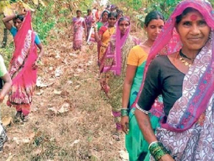 ओंढा नागनाथ तालुक्यात शेतातील आखाड्यावर निवडणूक प्रचारासाठी निघालेला महिलावर्ग. - Divya Marathi