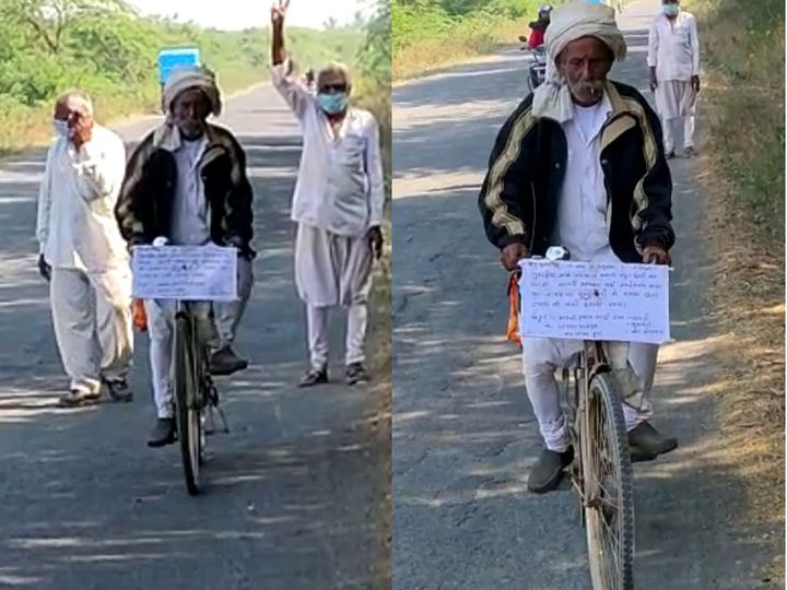 સુત્રાપાડાના વાવડી ગામના અરસીભાઈ રામે 65 વર્ષની ઉંમરે ન્યાય માટે સોમનાથથી દિલ્હી સુધી સાઈકલ પર યાત્રાએ નીકળ્યાં. - Divya Bhaskar