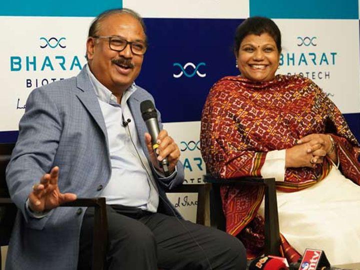 તસવીર: ડૉ. કૃષ્ણા એમ.એલ્લા અને તેમનાં પત્ની સુચિત્રા. - Divya Bhaskar