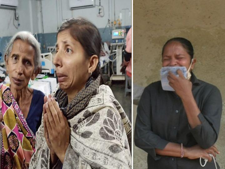 મૃતક અલ્પાનાં માતા અને બહેન, બીજી તસવીરમાં જલ્પાબેન રડી પડ્યાં. - Divya Bhaskar
