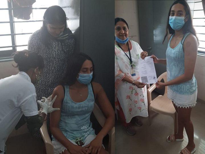 ગોતાના વેક્સિનેશન સેન્ટરમાં વેક્સિન લેવા પહોંચેલી સ્વિમર માના પટેલની તસવીર - Divya Bhaskar