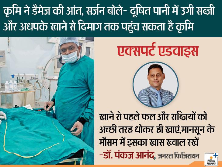 आंत में मिला 6.3 फुट लंबा जिंदा कृमि, सर्जरी कर निकाला गया, डॉक्टर बोले; अधपकी सब्जी से दिमाग तक पहुंच सकता है यह कीड़ा| - Dainik Bhaskar
