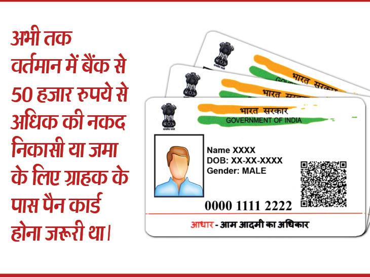 अब आधार कार्ड से भी कर सकेंगे 50 हजार रुपये से ज्यादा का नकद लेनदेन| - Dainik Bhaskar