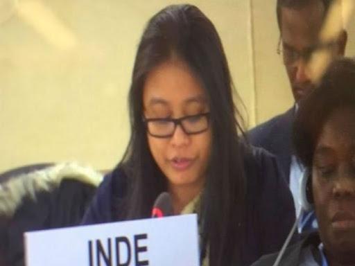 यूएनएचआरसी में भारत की प्रतिनिधि कुमाम मिनी देवी। - Dainik Bhaskar
