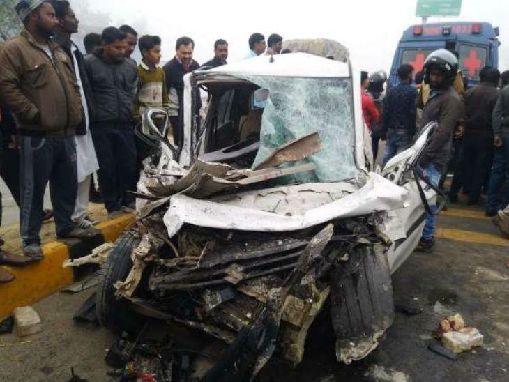 कोहरे के कारण गलत लाइन में घुसी कार, रोडवेज बस ने टक्कर मारी, तीन की मौत|गोरखपुर,Gorakhpur - Dainik Bhaskar