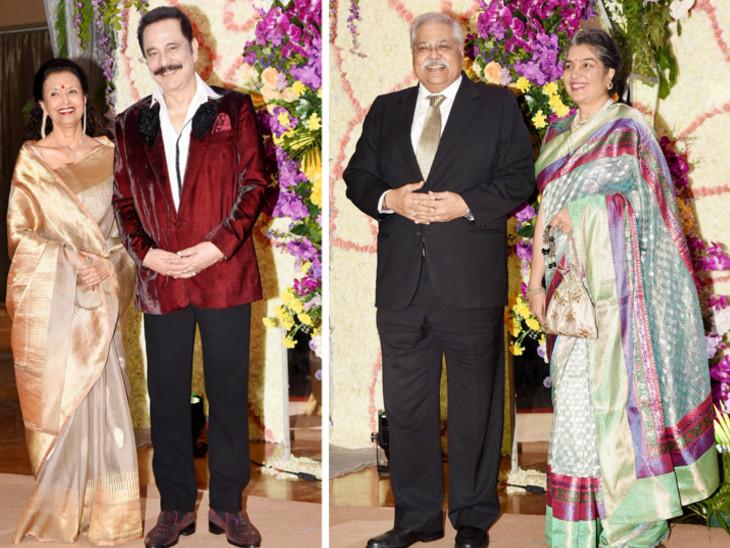 पत्नी स्वप्ना के साथ सुब्रत रॉय सहारा। दाईं ओर सतीश शाह और उनकी पत्नी मधु।