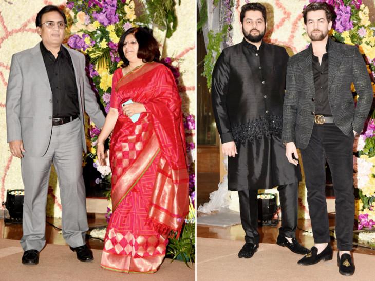 दिलीप जोशी पत्नी जयमाला के साथ। दाईं ओर भाई नमन के साथ नील नितिन मुकेश।