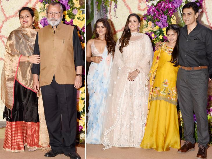 पत्नी सुप्रिया के साथ पंकज कपूर। दाईं ओर बड़ी बेटी प्रनूतन, पत्नी एकता और छोटी बेटी कृष्णा के साथ मोहनीश बहल।