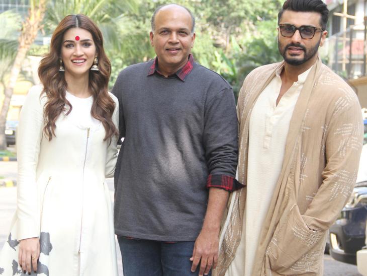 कृति और अर्जुन के साथ फिल्म के डायरेक्टर आशुतोष गोवारिकर भी मौजूद थे।