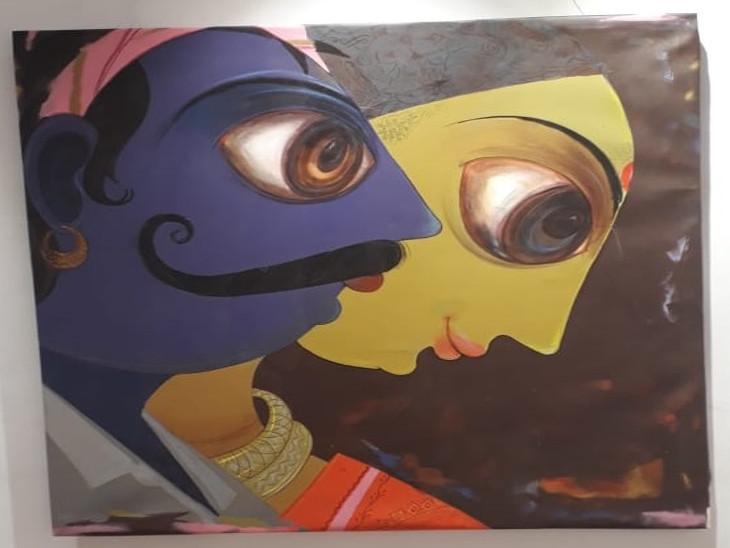 कर्नाटक से आए मंजुनाथ माने की चित्र प्रदर्शनी की शुरुआत हुई।
