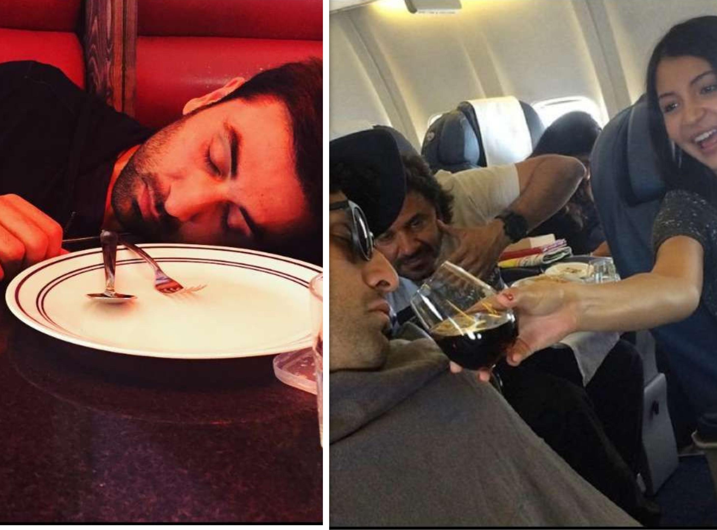 रणबीर सिंह की ये तस्वीरें सोशल मीडिया पर खूब लाइक की जा रही हैं। ये तस्वीरें अनुष्का ने फिल्म ऐ दिल है मुश्किल फिल्म की शूटिंग के दौरान ली थीं। एक तस्वीर में रणबीर फ्लाइट में और दूसरी में रेस्टोरेंट में सोते दिख रहे हैं।