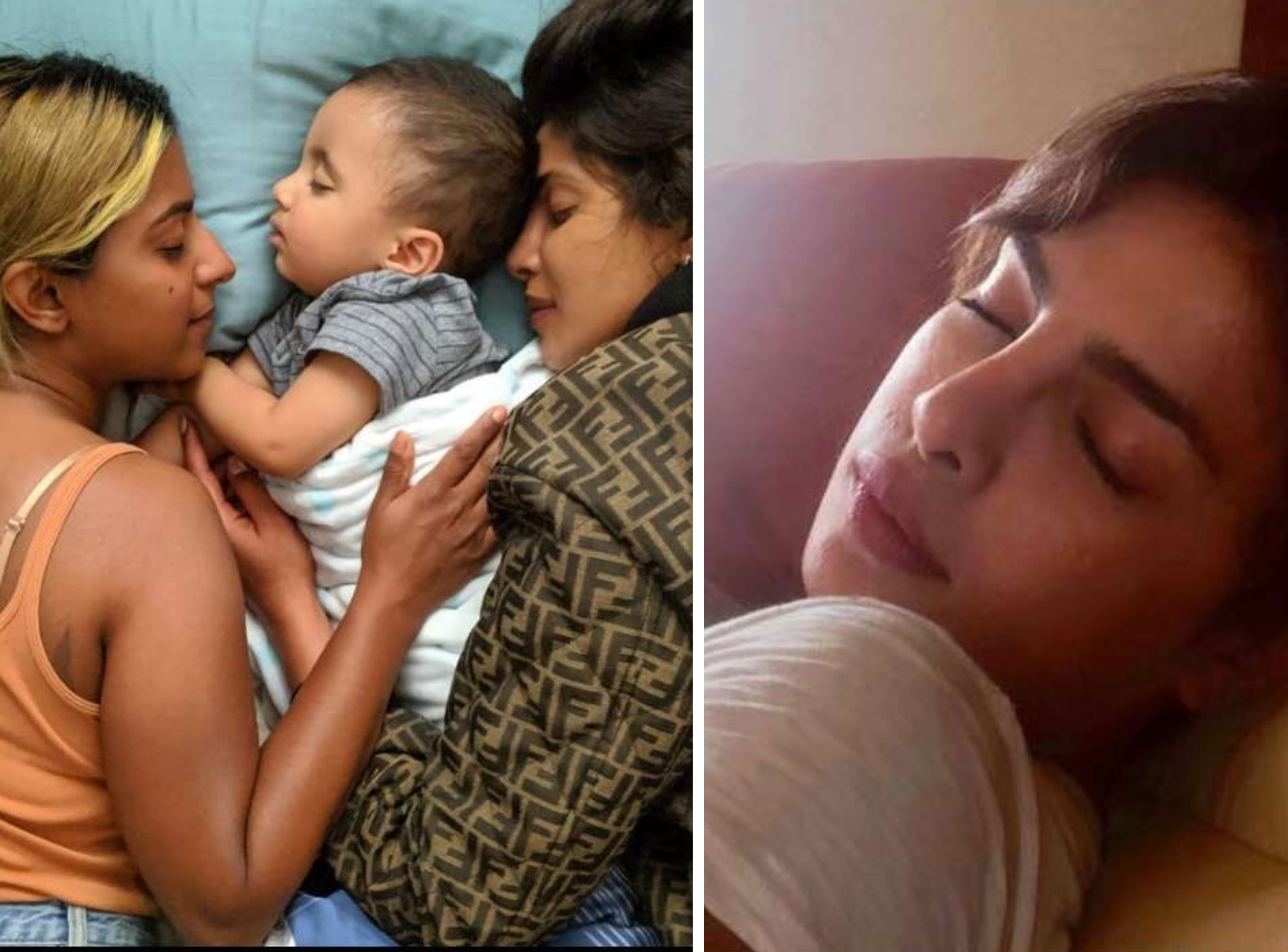 प्रियंका चोपड़ा की ये तस्वीरें  फ्लाइट और उनके घर की हैं जहां वो अपनी ब्यूटी स्लीप लेते नजर आ रही हैं। बच्चे के साथ की ये तस्वीर प्रियंका चोपड़ा ने खुद अपने इंस्टाग्राम अकाउंट से शेयर की थी।