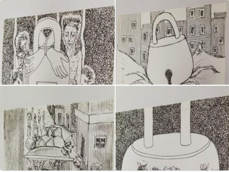 लॉकडाउन के बीच चित्रकार चित्रकार रा.मु.पगार ने कई स्केच तैयार किए हैं, ये सोशल मीडिया में वायरल हो रहे हैं।