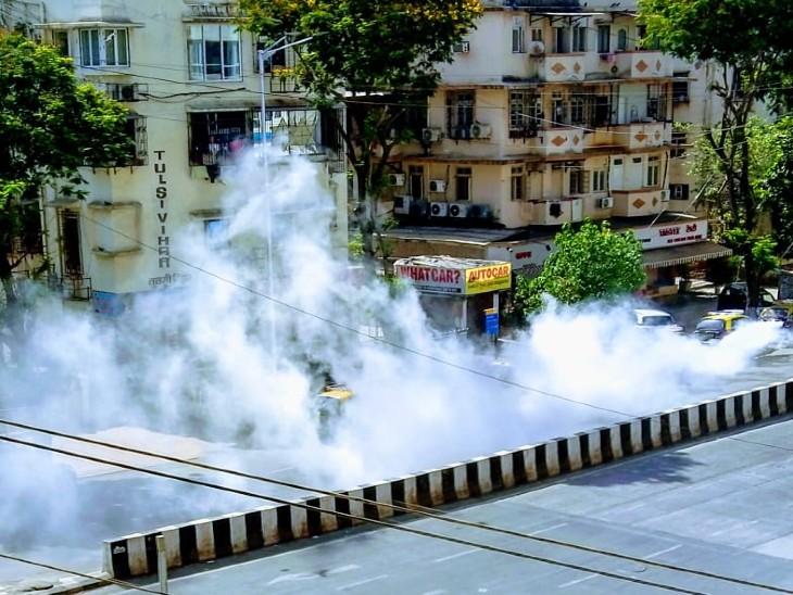 वर्ली के कोलीवाड़ा इलाके में बीएमसी ने फॉगिंग कराई।