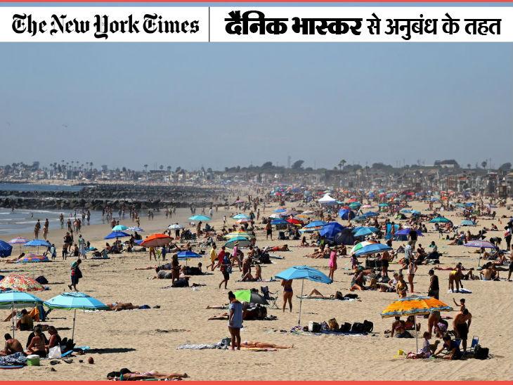 महामारी के बावजूद गर्मी से राहत पाने के लिए दक्षिणी कैलिफोर्निया के बीच पर शनिवार को हजारों लोग नजर आए।