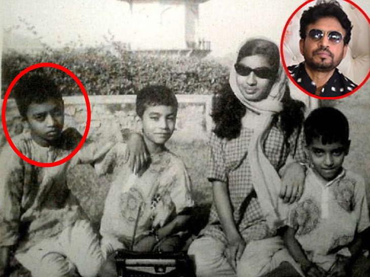 बचपन में इरफ़ान खान (बाएं तरफ से ) अपने भाई इमरान, बहन रुखसाना और भाई सलमान के साथ।