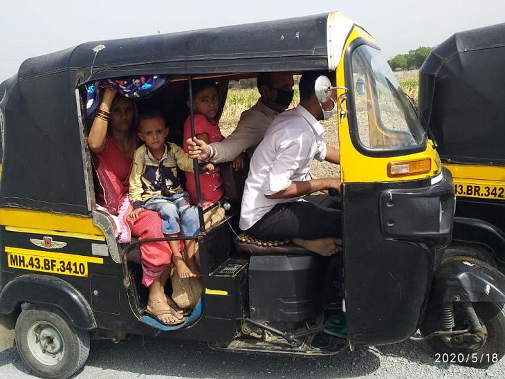 झांसी से ठीक 40 किमी पहले एक के बाद एक कई ऑटो मिले। ये ऑटो उत्तर प्रदेश की ओर बढ़ रहे हैं। एक ऑटो चालक ने बातचीत में बताया कि मुंबई से 60% से ज्यादा ऑटोवाले अपने परिवारों के साथ यूपी, बिहार के अपने गांवों की ओर निकल गए हैं।