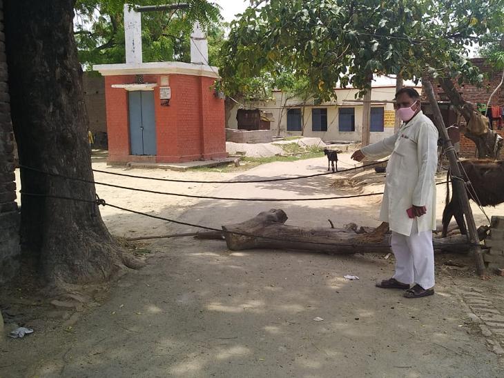 कोरोना पॉजिटिव मरीज मिलने के बाद गांव में जगह-जगह तारों से बाउंड्री लगाकर नाकेबंदी की गई है।