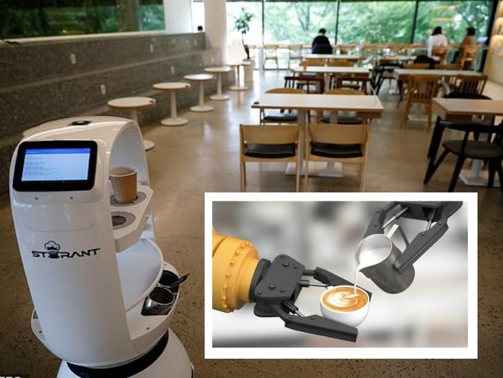 सोशल डिस्टेंसिंग के लिए साउथ कोरिया के रेस्तरां में चाय-कॉफी बनाने और कस्टमर तक पहुंचाने का काम रोबोट कर रहे|लाइफ & साइंस,Happy Life - Dainik Bhaskar