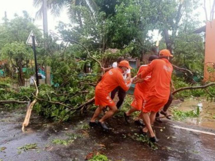 महाराष्ट्र में रायगढ़ जिले के अलीबाग से तूफान गुजरने के बाद एनडीआरएफ की टीम ने मलबा हटाने का काम शुरू कर दिया है।