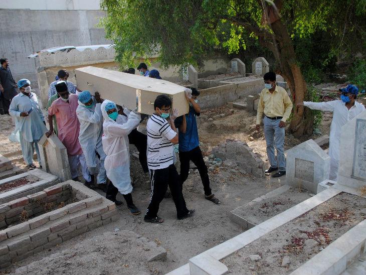 यह फोटो पाकिस्तान स्थित हैदराबाद में रविवार को ली गई। यहां कोरोना से जान गंवाने वाले एक युवक के शव को दफन करने ले जाते परिजन।