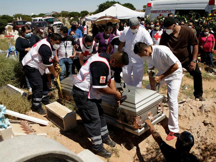 मैक्सिको सिटी में रेडक्रॉस के स्टाफ कोरोना से जान गंवाने वाले अपने एक सहकर्मी के शव को दफन करते हुए। देश में संक्रमितों का आंकड़ा 1.30 लाख से ज्यादा हो गया है।