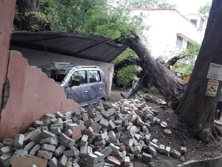बिलासपुर में बारिश और तेज हवाओं के चलते कई स्थानों पर पेड़ भी गिरे हैं। वेयर हाउस रोड पर सरकारी क्वार्टर पर पेड़ गिरने से क्षतिग्रस्त हो गया है।