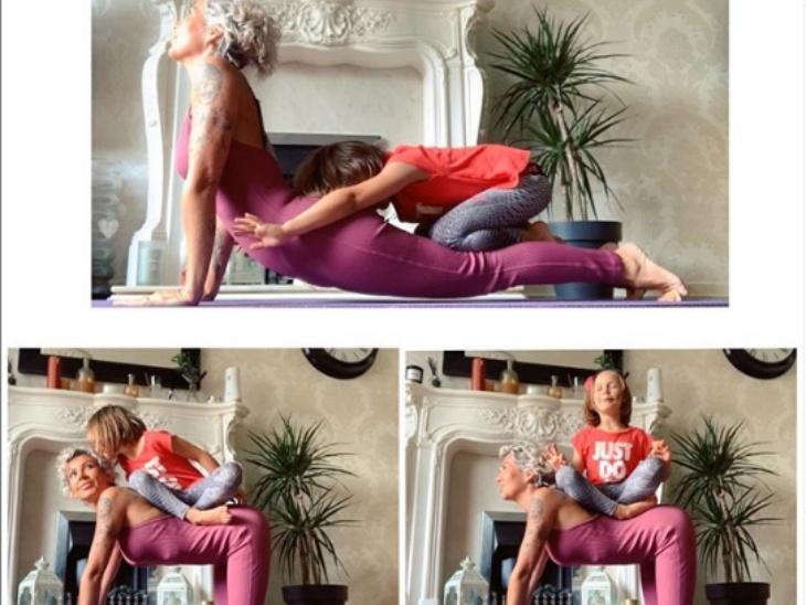 चाइल्ड योगा टीचर हेली ग्रेव्स की तीन में से एक बेटी हूबहू उनके जैसा बनना चाहती है। जितने समय वे योगा करती हैं, उतने ही समय उनकी बेटी भी उनके साथ योगा करती है। हेली ग्रेव्स ने यह फोटो शेयर करते हुए लिखा : जब घर में तीन बच्चे हों, तो शांति रहना लगभग नामुमकिन है। वो भी तब जब उनमें से एक हूबहू वही करना चाहती हो, जो आप कर रहे हैं।